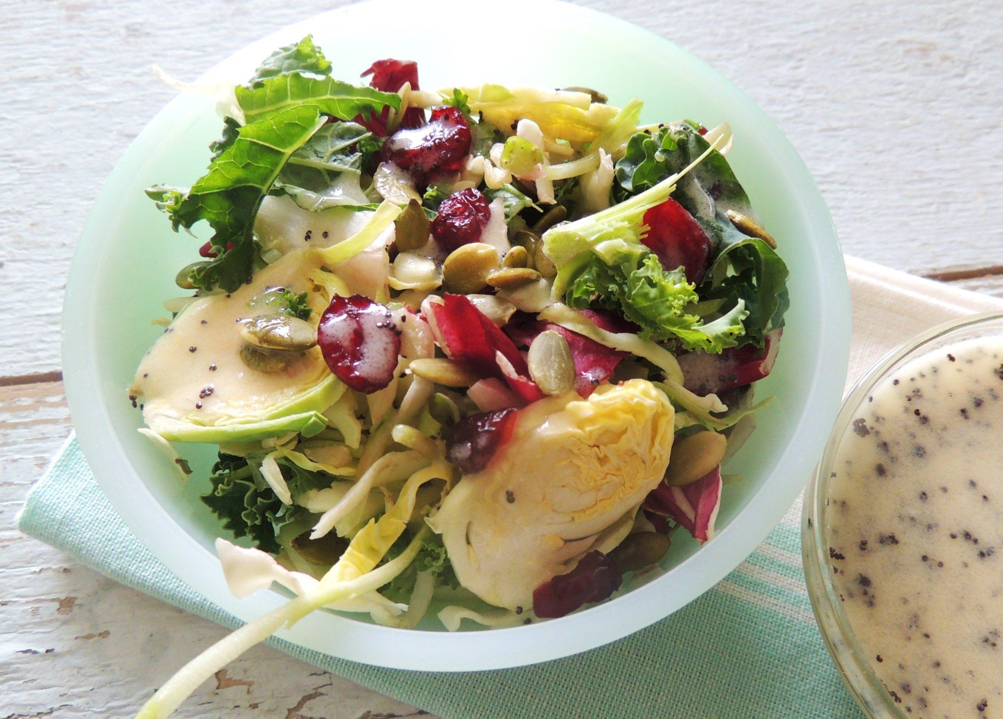 Kale and Brussel Sprout Coleslaw with Poppy Seed Dressing