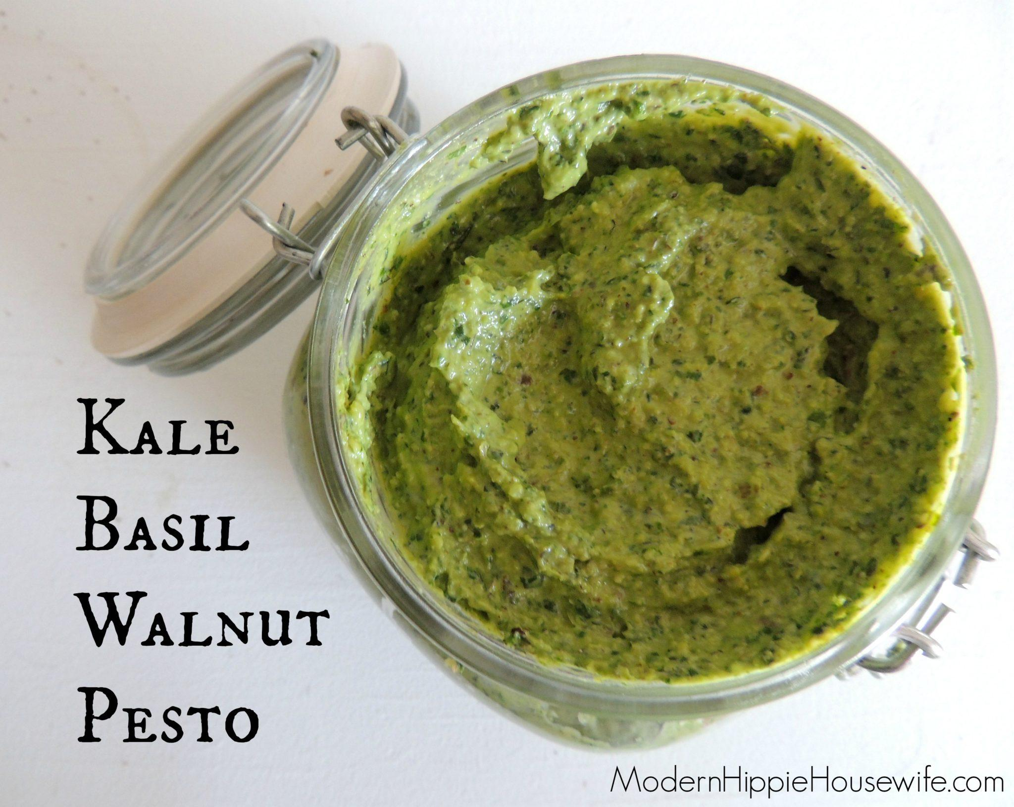 Kale Basil and Walnut Pesto
