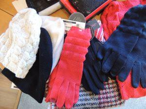 Hats, scarves and gloves.