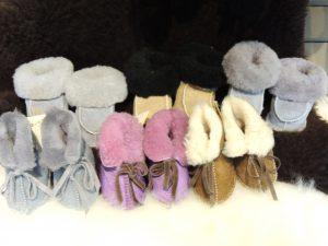 Locally made sheepskin slippers, newborn - age 5, $30-$35