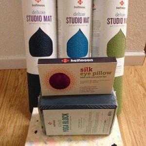 Yoga mats $45, Chip Foam Blocks $19, Silk Eye Pillow $21