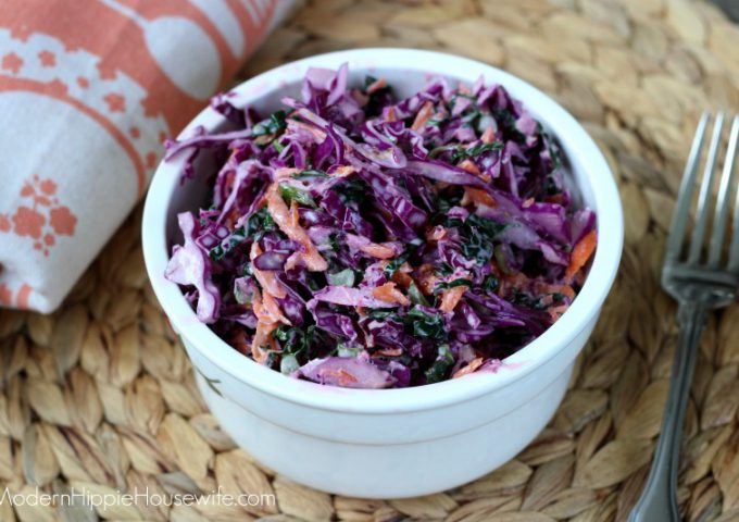 Purple Cabbage and Kale Coleslaw